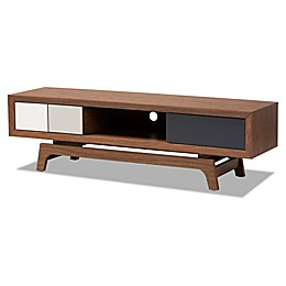 Baxton Studio Kinley 3-Drawer TV Stand in Walnut/White