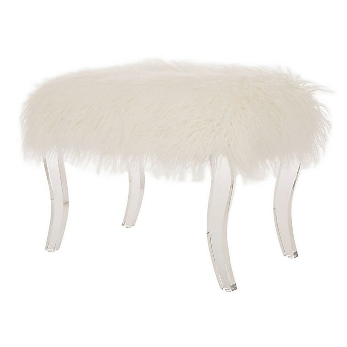 Surprising Glitzhome Faux Fur Bench In White Bed Bath Beyond Squirreltailoven Fun Painted Chair Ideas Images Squirreltailovenorg