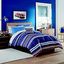 Indigo Striped Comforter Set in Blue