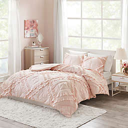 Intelligent Design Kacie 2-Piece Ruffled Twin/Twin XL Coverlet Set in Blush