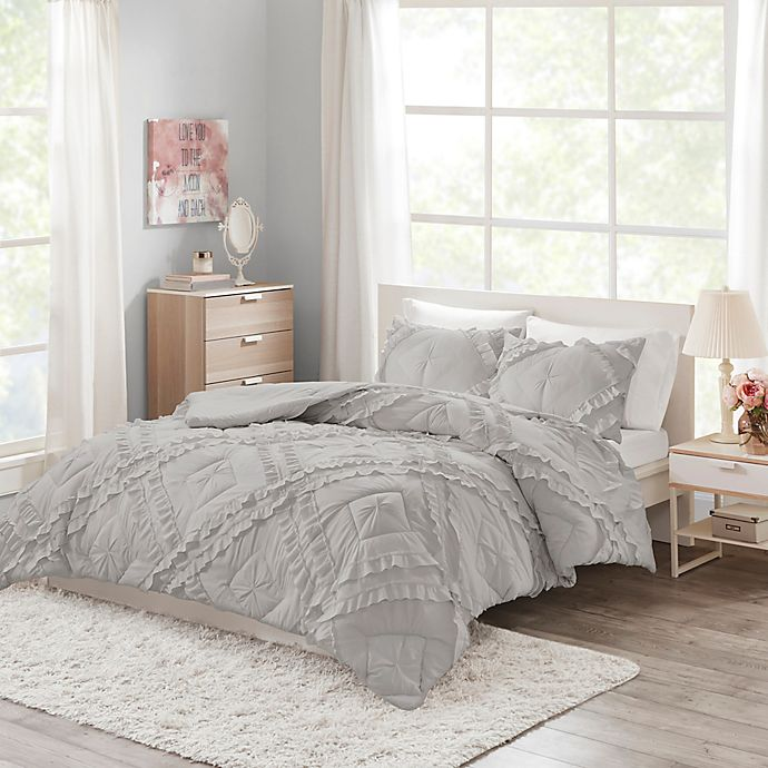 Alternate image 1 for Intelligent Design Kacie 2-Piece Ruffled Twin/Twin XL Coverlet Set in Grey