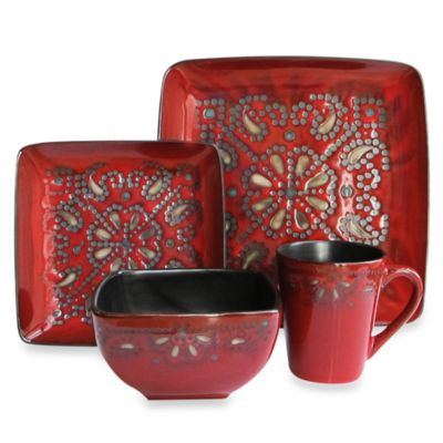 American Atelier Marquee 16 Piece Dinnerware Set In Red
