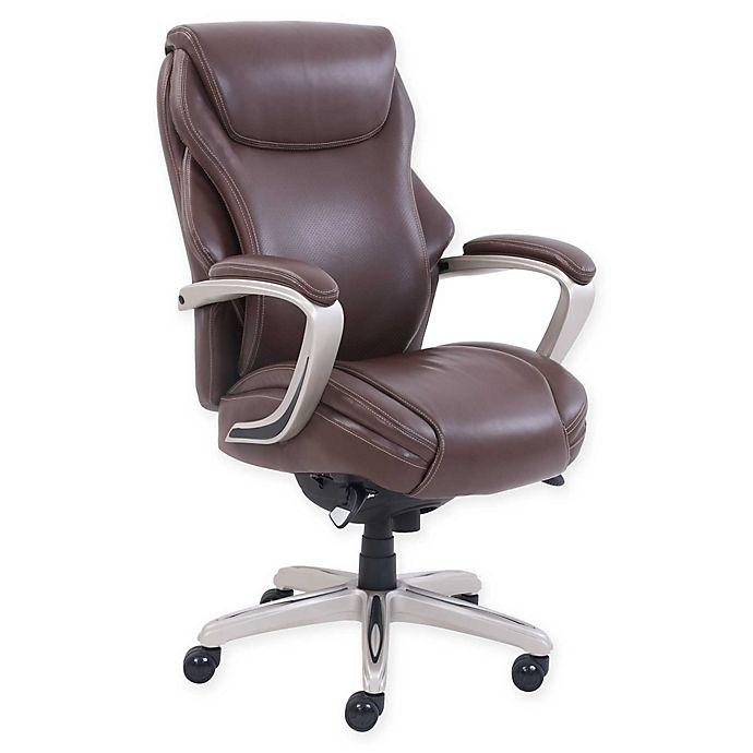Alternate image 1 for La-z-boy® Faux Leather Swivel Hyland Office Chair in Brown
