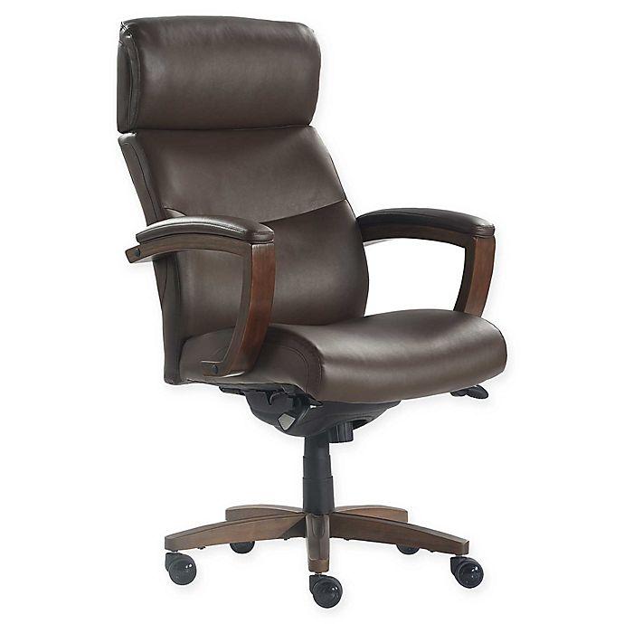 Alternate image 1 for La-z-boy® Faux Leather Swivel Greyson Office Chair in Brown