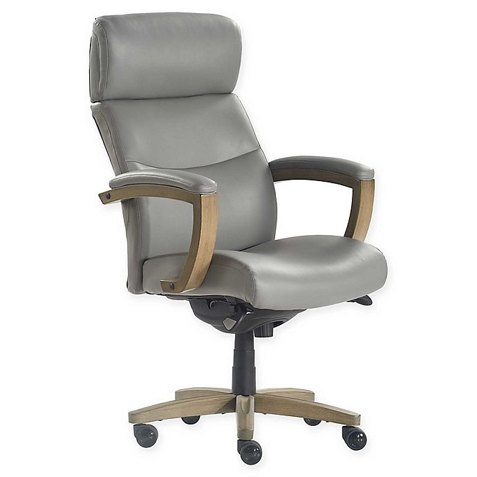 Alternate image 1 for La-z-boy® Faux Leather Swivel Greyson Office Chair in Grey