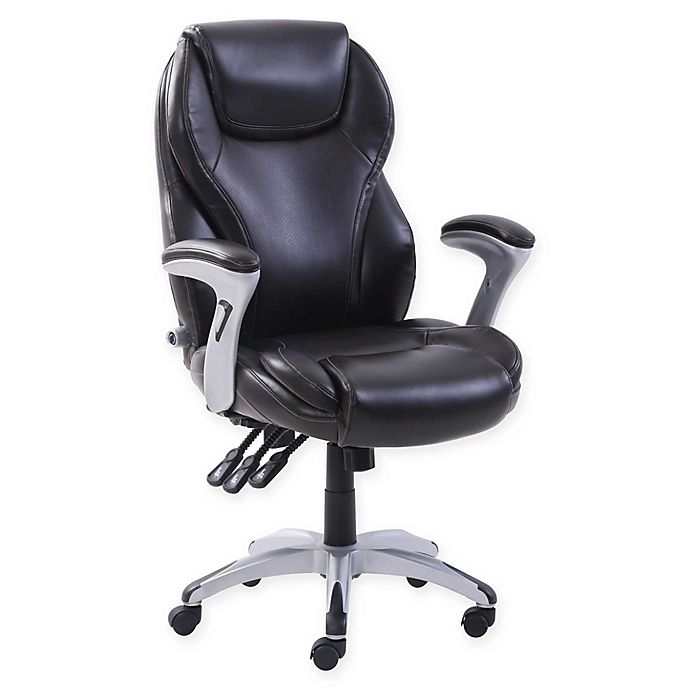 Alternate image 1 for Serta® Polyester Swivel Executive Office Chair in Brown