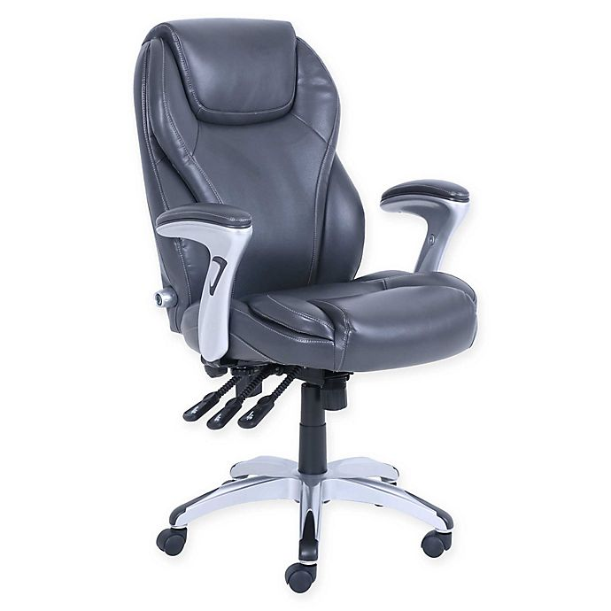 Alternate image 1 for Serta® Polyester Swivel Executive Office Chair in Gray