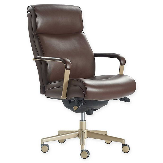 Alternate image 1 for La-z-boy® Faux Leather Swivel Melrose Office Chair in Brown
