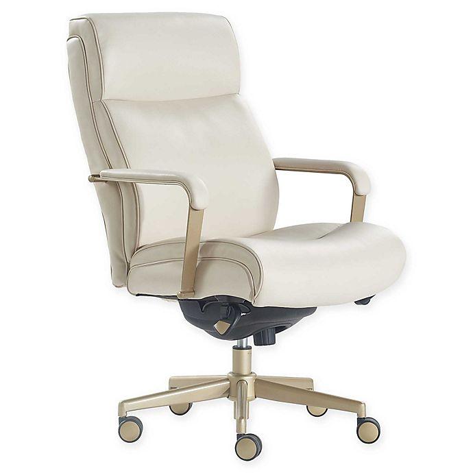 Alternate image 1 for La-z-boy® Faux Leather Swivel Melrose Office Chair in White