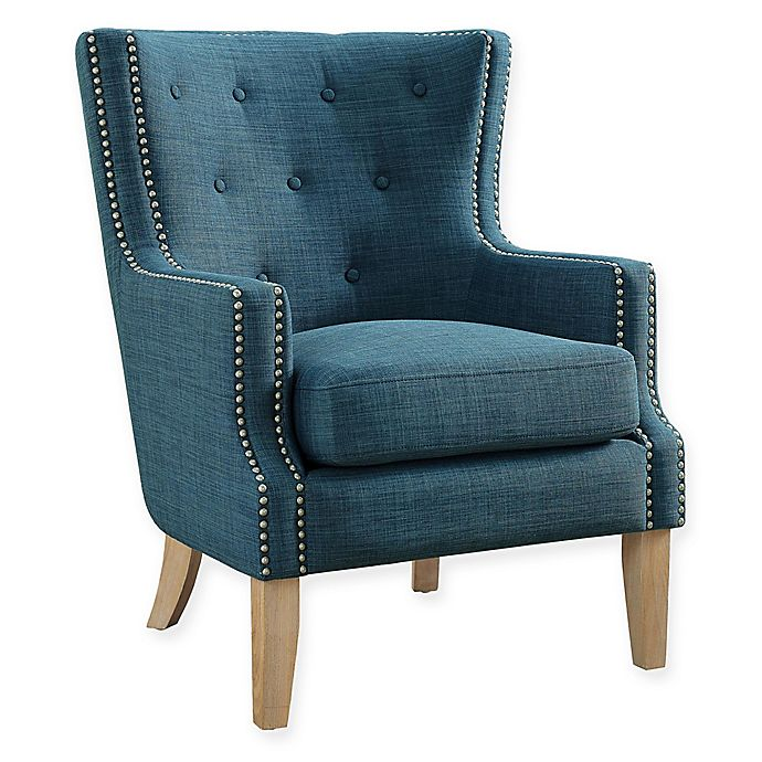 Alternate image 1 for Linen Upholstered Darius Chair in Blue