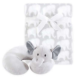 Hudson Baby® Grey Elephant Neck Pillow and Blanket Set
