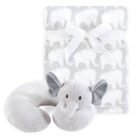 Hudson Baby 174 Grey Elephant Neck Pillow And Blanket Set