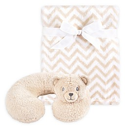 Hudson Baby® Tan Bear Neck Pillow and Blanket Set