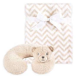 Hudson Baby® Tan Bear Neck Pillow and Blanket Set