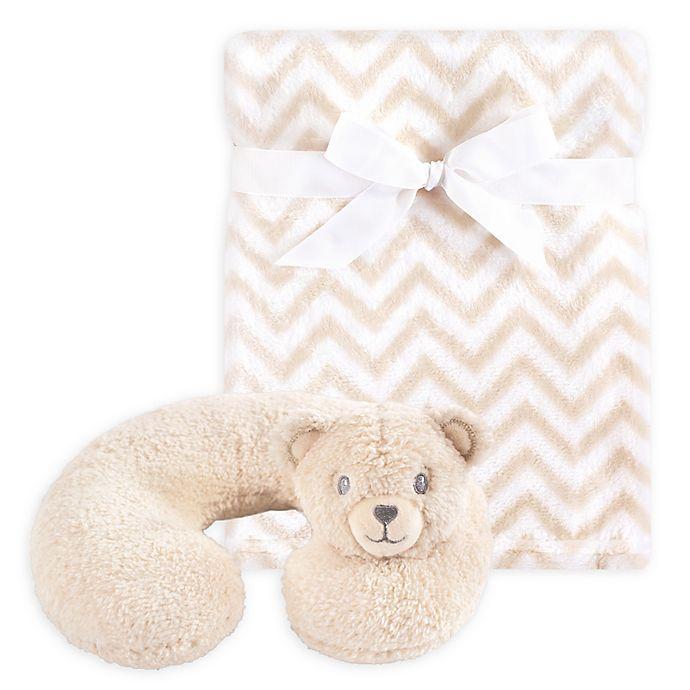 Alternate image 1 for Hudson Baby® Tan Bear Neck Pillow and Blanket Set