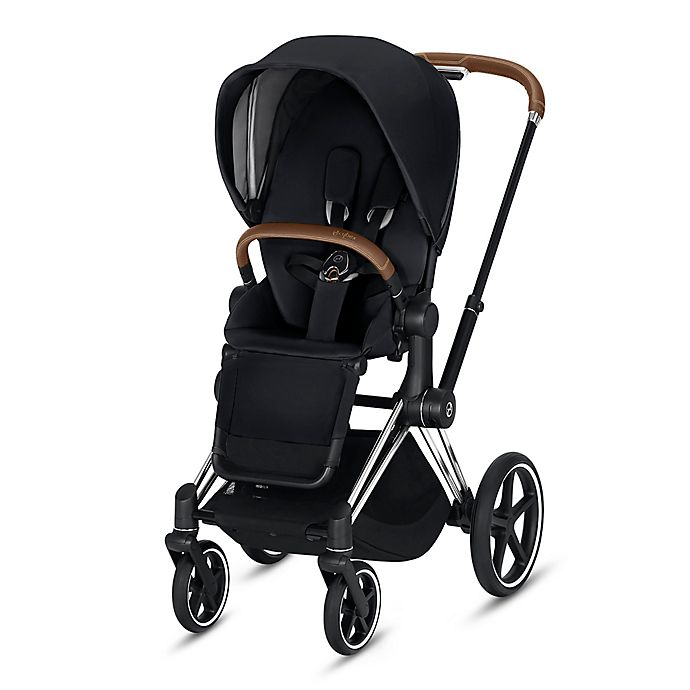 Alternate image 1 for CYBEX Priam Stroller with Chrome/Brown Frame and Premium Black Seat