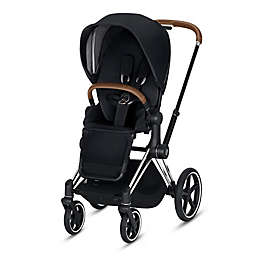 CYBEX Priam Stroller with Chrome/Brown Frame and Premium Black Seat