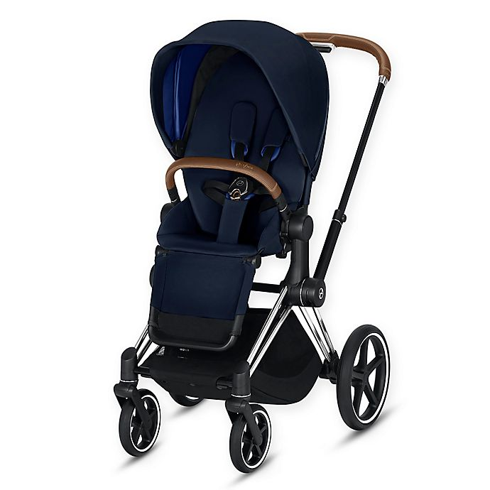 Alternate image 1 for CYBEX Priam Stroller with Chrome/Brown Frame and Indigo Blue Seat