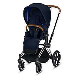 CYBEX Priam Stroller with Chrome/Brown Frame and Indigo Blue Seat
