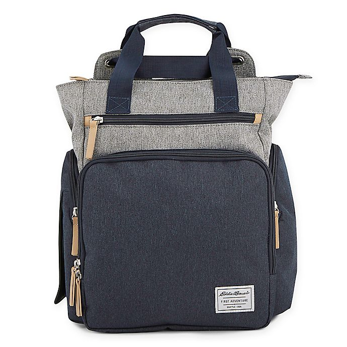 Alternate image 1 for Eddie Bauer® Explorer Hybrid Diaper Backpack in Navy/Grey