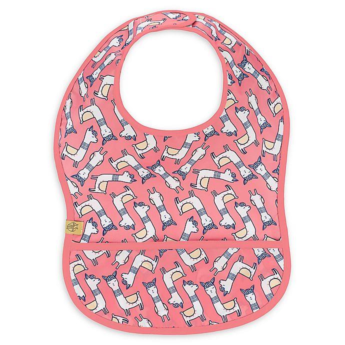 Alternate image 1 for Lassig Glama LLama Lightweight Bib with Pocket in Pink