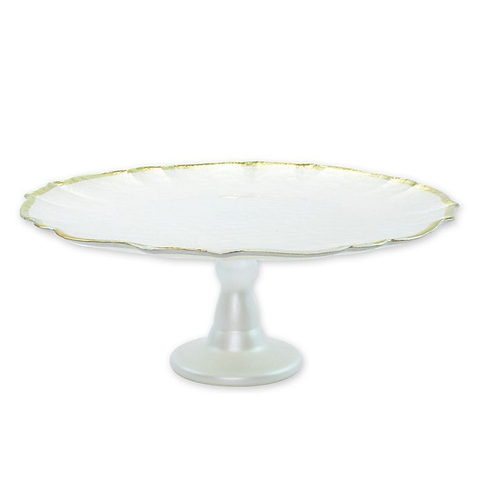 Alternate image 1 for viva by VIETRI Baroque Glass Footed Cake Stand in White