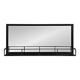 Kate And Laurel Jackson Wall Mirror with Shelf in Black
