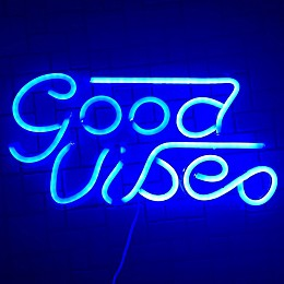 """Art Neon 8.15-Inch x 16.1-Inch """"Good Vibes"""" Wall Light in Blue"""