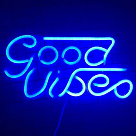 Art Neon 8 15 Inch X 16 1 Inch Good Vibes Wall Light In Blue Bed Bath Beyond