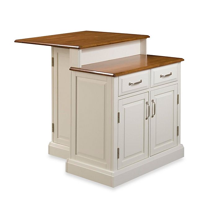 Home Styles Woodbridge Two-Tier Kitchen Island in White ...