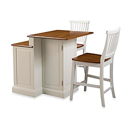 Home Styles Woodbridge Two-Tier Kitchen Island & Two Stools in White