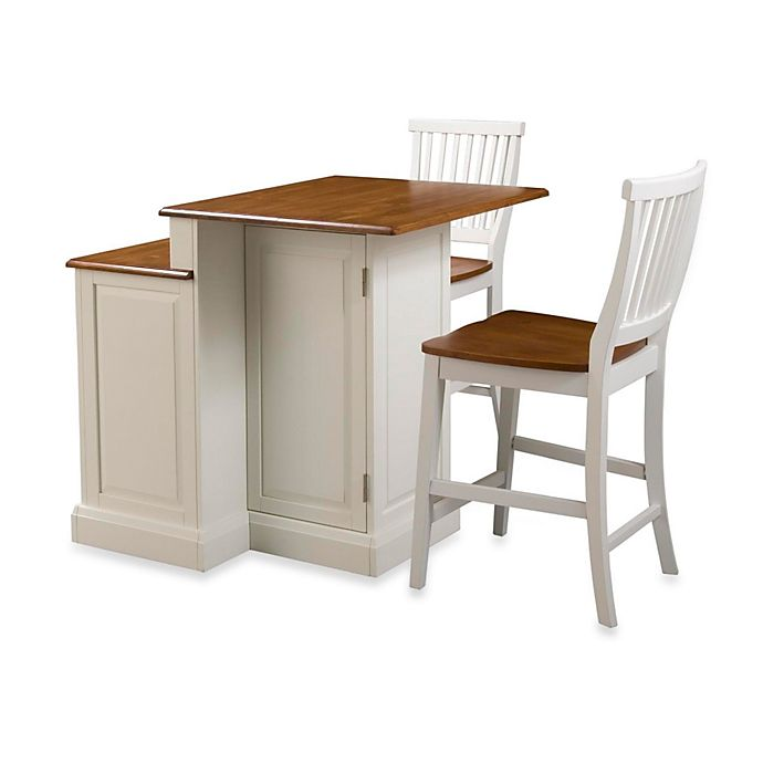 Alternate image 1 for Home Styles Woodbridge Two-Tier Kitchen Island & Two Stools in White