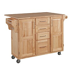 Home Styles Natural Wood Kitchen Cart with Breakfast Bar