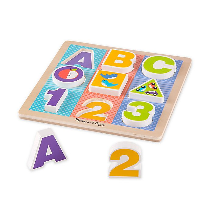 Alternate image 1 for Melissa & Doug® 13-Piece ABC-123 Wooden Chunky Puzzle