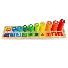 Hey! Play! Rainbow 10-Piece Wooden Stacking Ring Toy