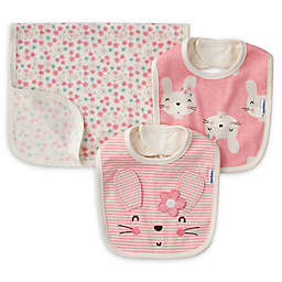 Gerber® 3-Piece Striped Bunny Bib and Burp Set
