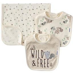 Gerber® 3-Piece Wild Squirrel Organic Cotton Bib and Burp Set