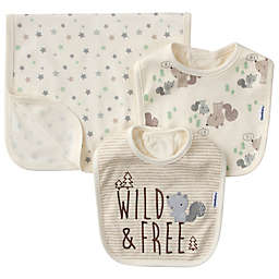 Gerber® 3-Piece Wild Squirrel Organic Cotton Bib and Burp Set