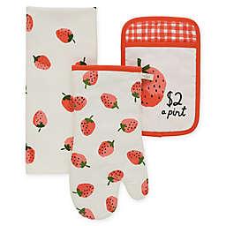 kate spade new york Strawberry 3-Piece Kitchen Linens Set in Hibiscus