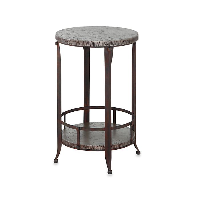 Powell Foundry Antique Pewter Round Accent Table Bed