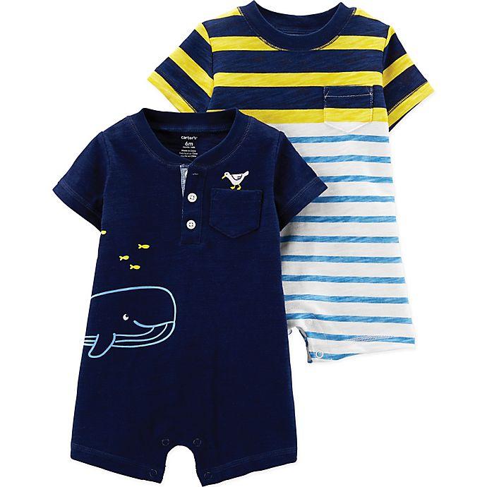 Alternate image 1 for carter's® Boy's 2-Pack Short Sleeve Rompers