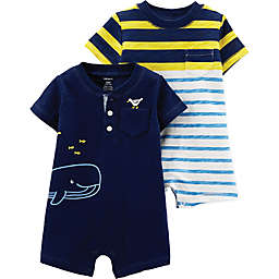 carter's® Boy's 2-Pack Short Sleeve Rompers