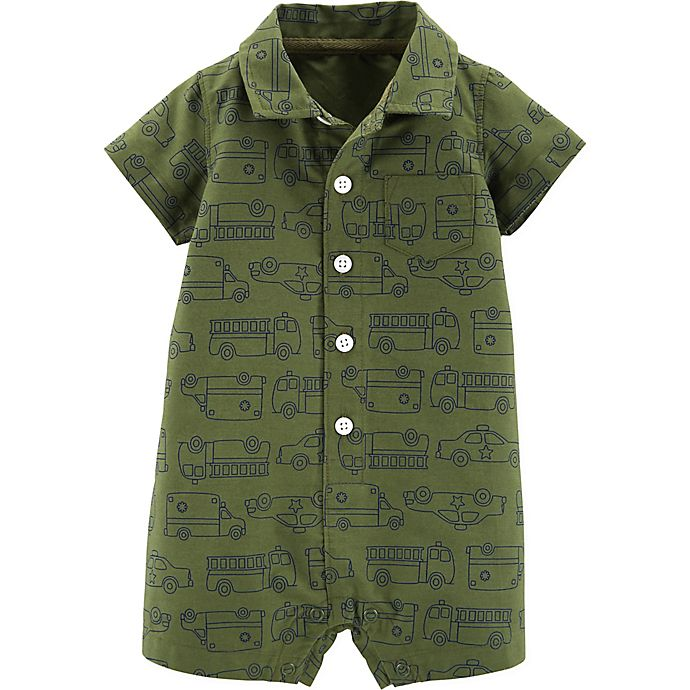 Alternate image 1 for carter's® Boy's Polo Romper in Green