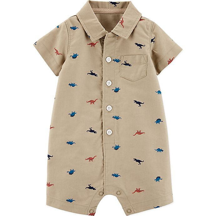 Alternate image 1 for carter's® Boy's Dinosaur Romper in Khaki