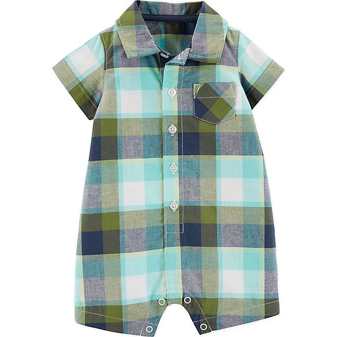 Alternate image 1 for carter's® Boy's Size 6M Plaid Romper in Green/Navy