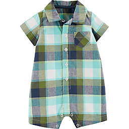 carter's® Boy's Plaid Romper in Green/Navy
