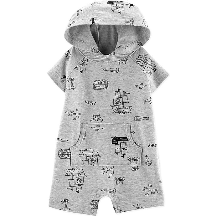 Alternate image 1 for carter's® Boy's Size 18M Pirate Hooded Romper in Cream