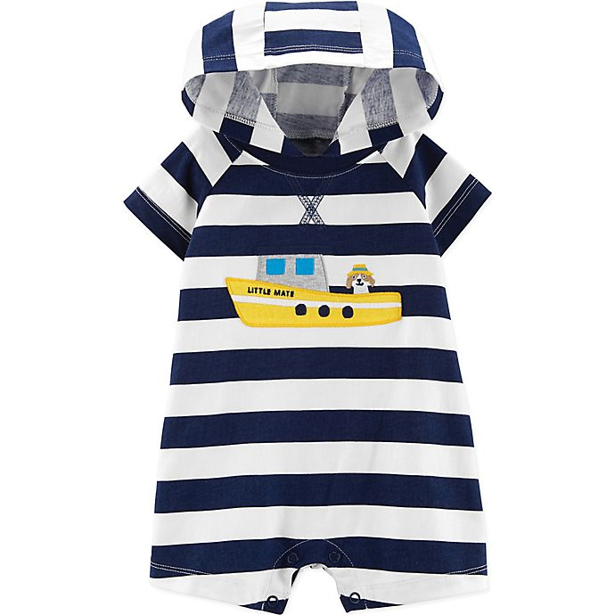 Alternate image 1 for carter's® Boy's Boat Stripe Hooded Romper in Navy
