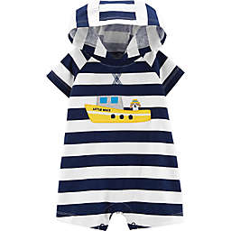 carter's® Boy's Boat Stripe Hooded Romper in Navy