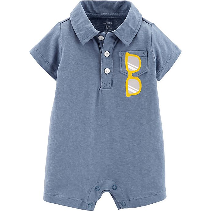 Alternate image 1 for carter's® Boy's Size 12M Sunglasses Polo Romper in Blue
